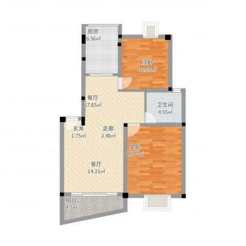 叠翠江南 江南星城2室1厅1卫1厨99.00㎡户型图