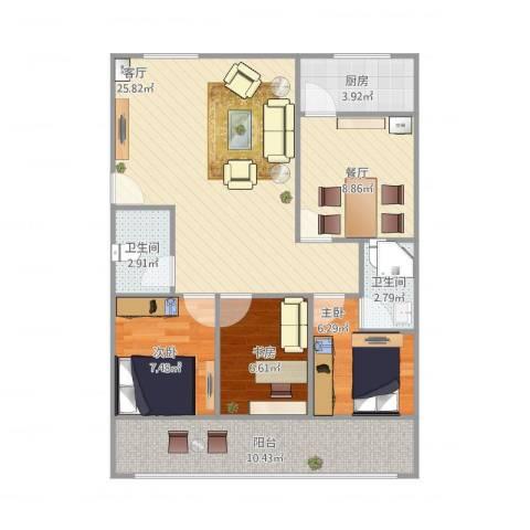 舜怡佳园3室2厅2卫1厨102.00㎡户型图