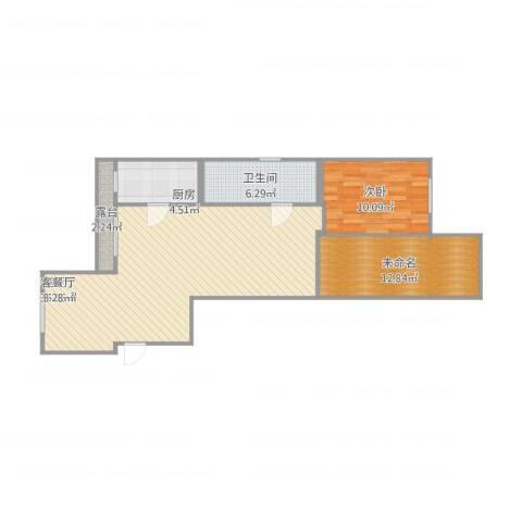 西涝台御鑫园1室1厅1卫1厨98.00㎡户型图