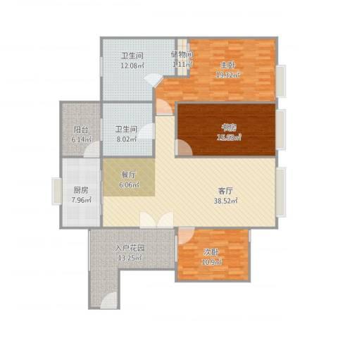 景山一号3室1厅2卫1厨178.00㎡户型图