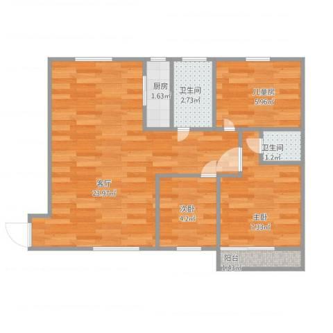 地矿家园3室1厅2卫1厨53.35㎡户型图