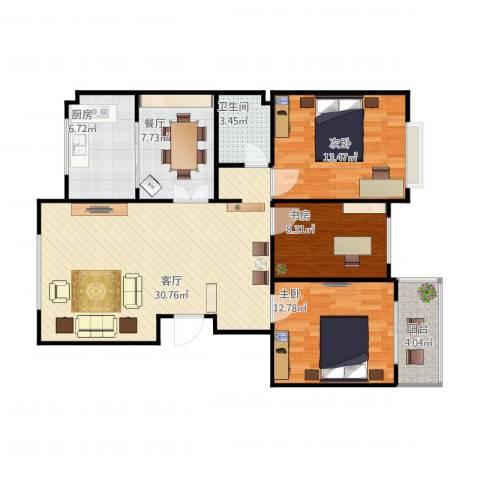 煤机宿舍3室2厅1卫1厨116.00㎡户型图
