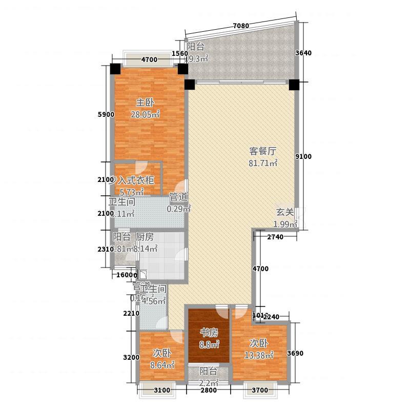 洱海天域国际公寓・天空墅233.32㎡大平层C1户型4室2厅2卫1厨