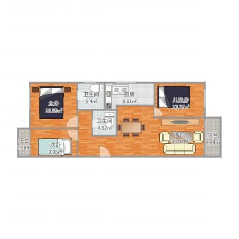 联发新天地3室1厅2卫1厨140.00㎡户型图