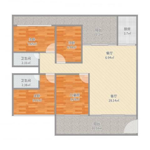 怡翠宏璟4室1厅2卫1厨125.00㎡户型图