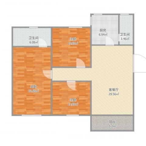 华远西小区3室1厅2卫1厨131.00㎡户型图