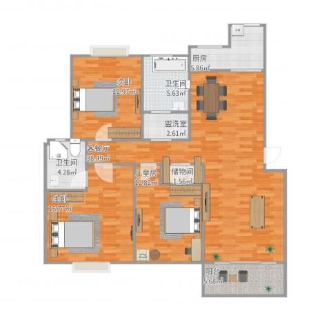 学林雅苑3室2厅2卫1厨143.00㎡户型图
