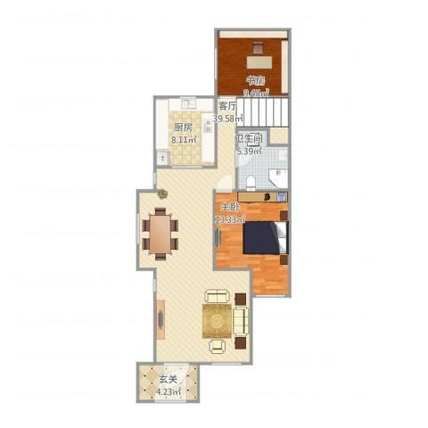 世茂萨拉曼卡2室1厅1卫1厨108.00㎡户型图