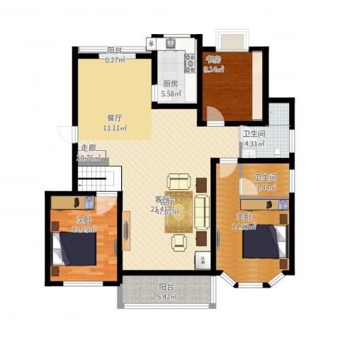 广天青城雅居3室1厅2卫1厨147.00㎡户型图