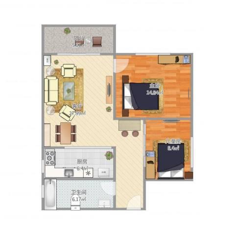 金德苑7F2室1厅1卫1厨94.00㎡户型图