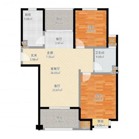 丰水宝邸西苑2室1厅1卫1厨104.00㎡户型图