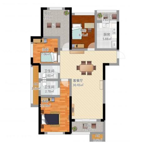龙湖湘风星城3室1厅4卫1厨132.00㎡户型图