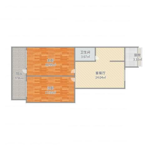 西三庄供销社宿舍2室1厅1卫1厨104.00㎡户型图