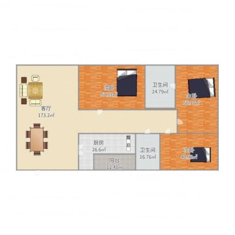 昌发楼3室1厅2卫1厨529.00㎡户型图