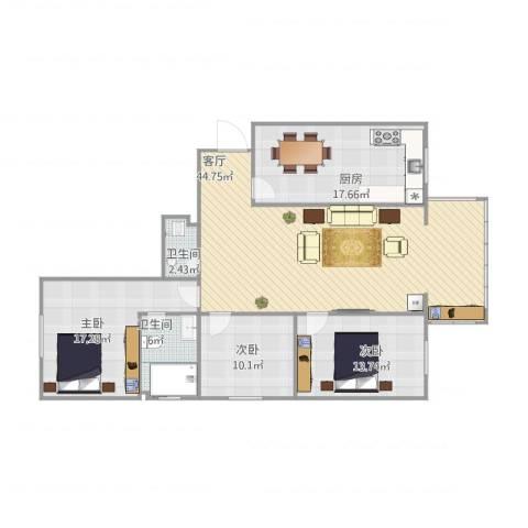 太空花园3室1厅2卫1厨130.00㎡户型图