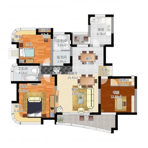 云山星座苑3室1厅2卫1厨149.00㎡户型图