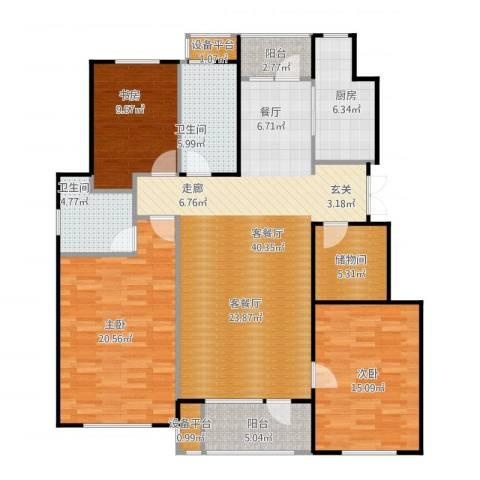 万达金石天成3室1厅4卫1厨159.00㎡户型图