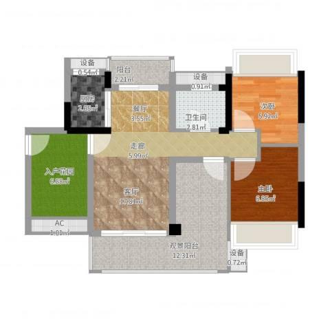 畔山名居・特区青年2室1厅1卫1厨90.00㎡户型图