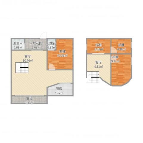 尚辉苑B区13064室2厅2卫1厨114.00㎡户型图