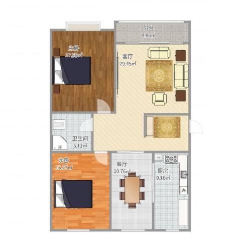 英雄山路单位宿舍2室2厅1卫1厨123.00㎡户型图