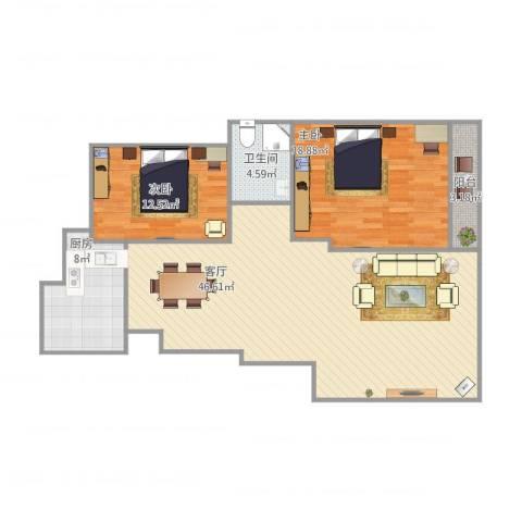 金寓花园2室1厅1卫1厨125.00㎡户型图