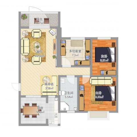 东方文华苑2室1厅1卫1厨107.00㎡户型图