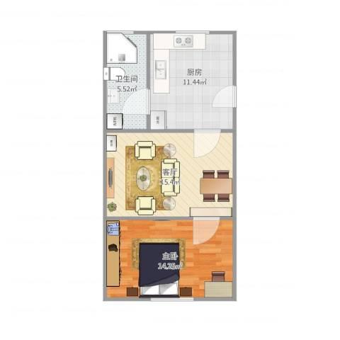 天山西路199弄小区1室1厅1卫1厨62.00㎡户型图