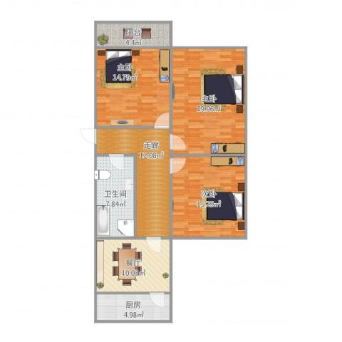 五三研究所宿舍3室1厅1卫1厨120.00㎡户型图