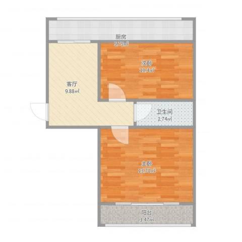 金鹏花园2室1厅1卫1厨63.00㎡户型图