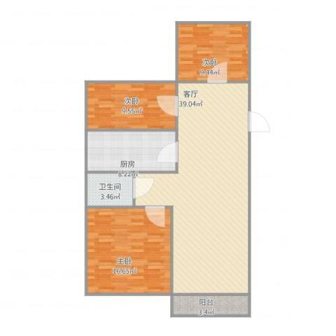 中粮南桥半岛3室1厅1卫1厨120.00㎡户型图