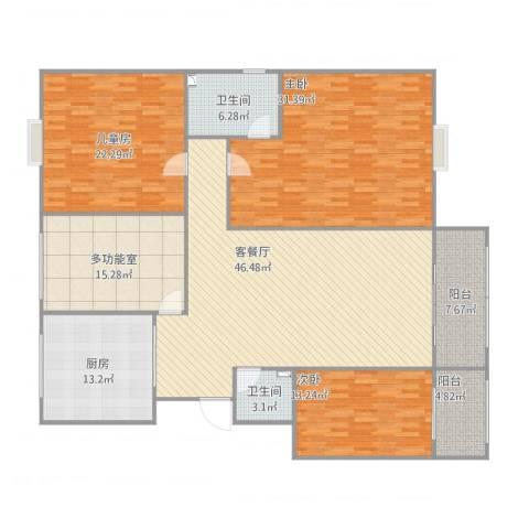 水天福苑3室1厅2卫1厨217.00㎡户型图