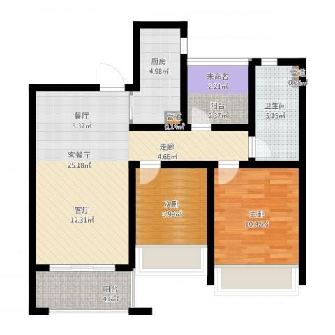 首创・悦都2室1厅1卫1厨91.00㎡户型图