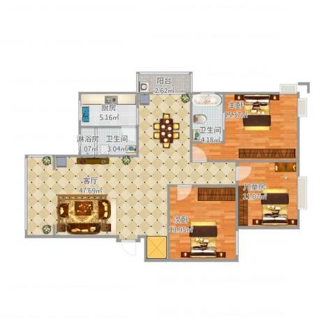 锦豪雍景园3室1厅2卫1厨140.00㎡户型图