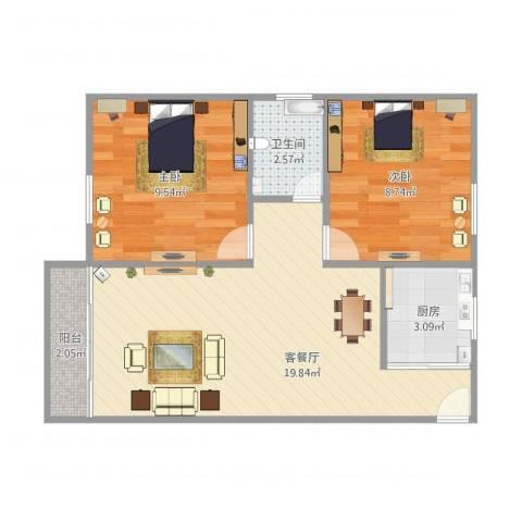 嘉禾新城2室1厅1卫1厨62.00㎡户型图