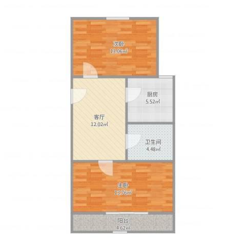 霞光里小区2室1厅1卫1厨73.00㎡户型图