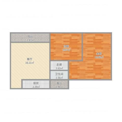西城景秀2室1厅1卫1厨57.35㎡户型图