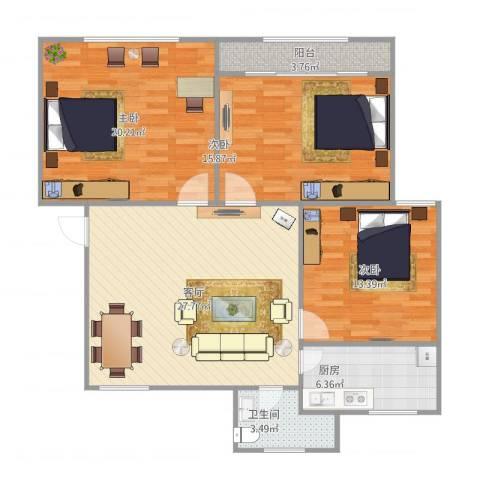 孙桥公寓3室1厅1卫1厨121.00㎡户型图