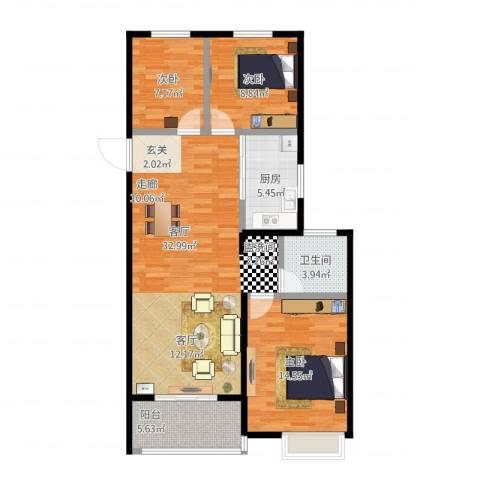 伟星玲珑湾3室1厅1卫1厨110.00㎡户型图