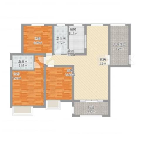 中建・城中壹号公馆3室1厅2卫1厨138.00㎡户型图