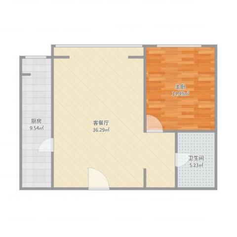 泰河园七里1室1厅1卫1厨88.00㎡户型图