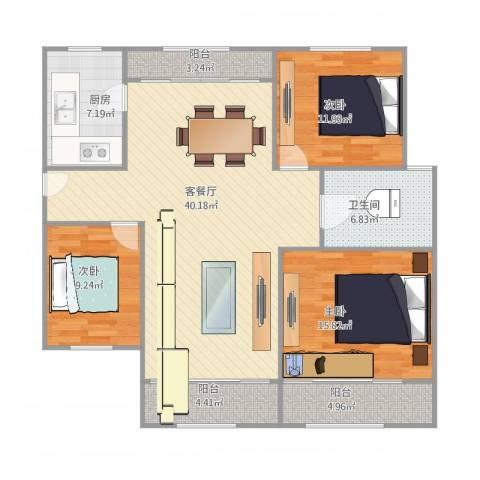 上南翡翠苑3室1厅1卫1厨139.00㎡户型图