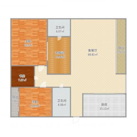 银河湾140平3室1厅2卫1厨229.00㎡户型图