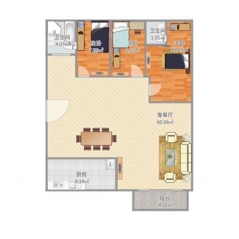 康逸豪园3室1厅2卫1厨146.00㎡户型图