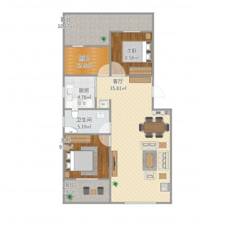 学府华园3室1厅1卫1厨115.00㎡户型图