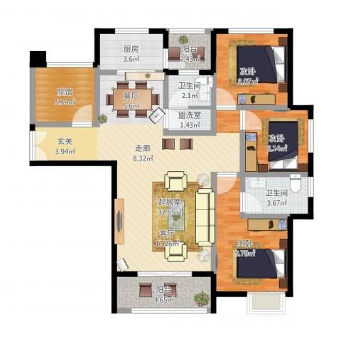 旭阳台北城敦美里3室1厅3卫1厨115.00㎡户型图