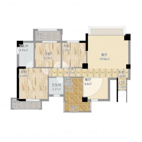 永鸿御景湾3室1厅3卫1厨121.00㎡户型图