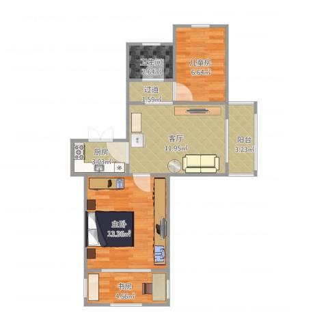 恒大华城天地苑3室1厅1卫1厨65.00㎡户型图