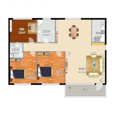 弘基书香园二期3室1厅2卫1厨189.00㎡户型图