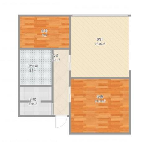 港天大厦2室1厅1卫1厨69.00㎡户型图