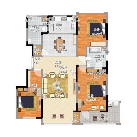 万科金域蓝湾3室1厅4卫4厨202.00㎡户型图
